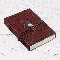 Embossed leather journal, 'Chalcedony Charm' - Leather Bound Handmade Paper Journal with Chalcedony Stone