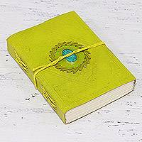 Embossed leather journal, 'Citron Delight' - Yellow Leather Bound Handmade Paper Journal