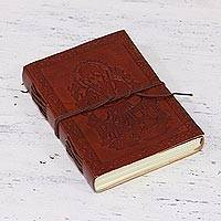 Embossed leather journal, 'Lord Ganesha' - Embossed Leather Bound Handmade Paper Lord Ganesha Journal