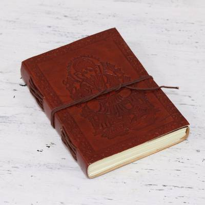 Embossed leather journal, Lord Ganesha