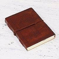 Embossed leather journal, 'Divine Cross' - Embossed Leather Bound Handmade Paper Cross Journal