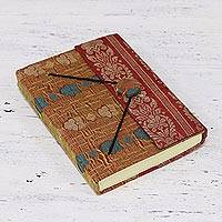 Handmade paper journal, 'Indian Delight' - Fabric Cover Handmade Paper Journal from India