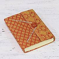 Handmade paper journal, 'Indian Grace' - Diamond Fabric Cover Handmade Paper Journal from India