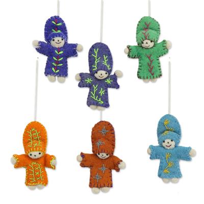 Wool felt ornaments, 'Dancing Dolls' (set of 6) - Six Colorful Wool Doll Ornaments from India