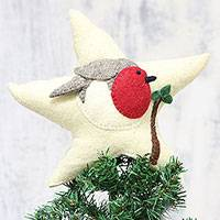 Wool tree top ornament, 'Robin Star' - Star-Shaped Wool Robin Tree Top Ornament from India