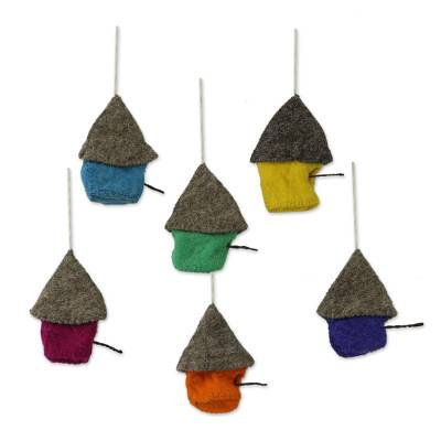 Wool felt ornaments, 'Snow Abodes' (set of 6) - Set of Six Assorted Wool House Ornaments from India