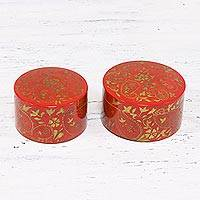 Decorative wood boxes, 'Paisley Delight' (set of 2) - Set of Two Red and Gold Paisley Decorative Kadem Wood Boxes