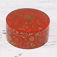 Decorative wood box, 'Paisley Delight' - Red and Gold Paisley Decorative Kadem Wood Box
