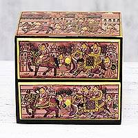 Decorative wood box, 'Royal Parade' - Rose Pink and Gold Elephant Decorative Kadem Wood Box