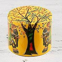 Decorative wood box, 'Tree of Wisdom' - Yellow Elephant Tree Decorative Kadam Wood Box