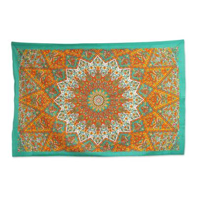 Cotton wall hanging, 'Glorious Garden' - Handmade Indian Cotton Floral Elephant Mandala Wall Hanging