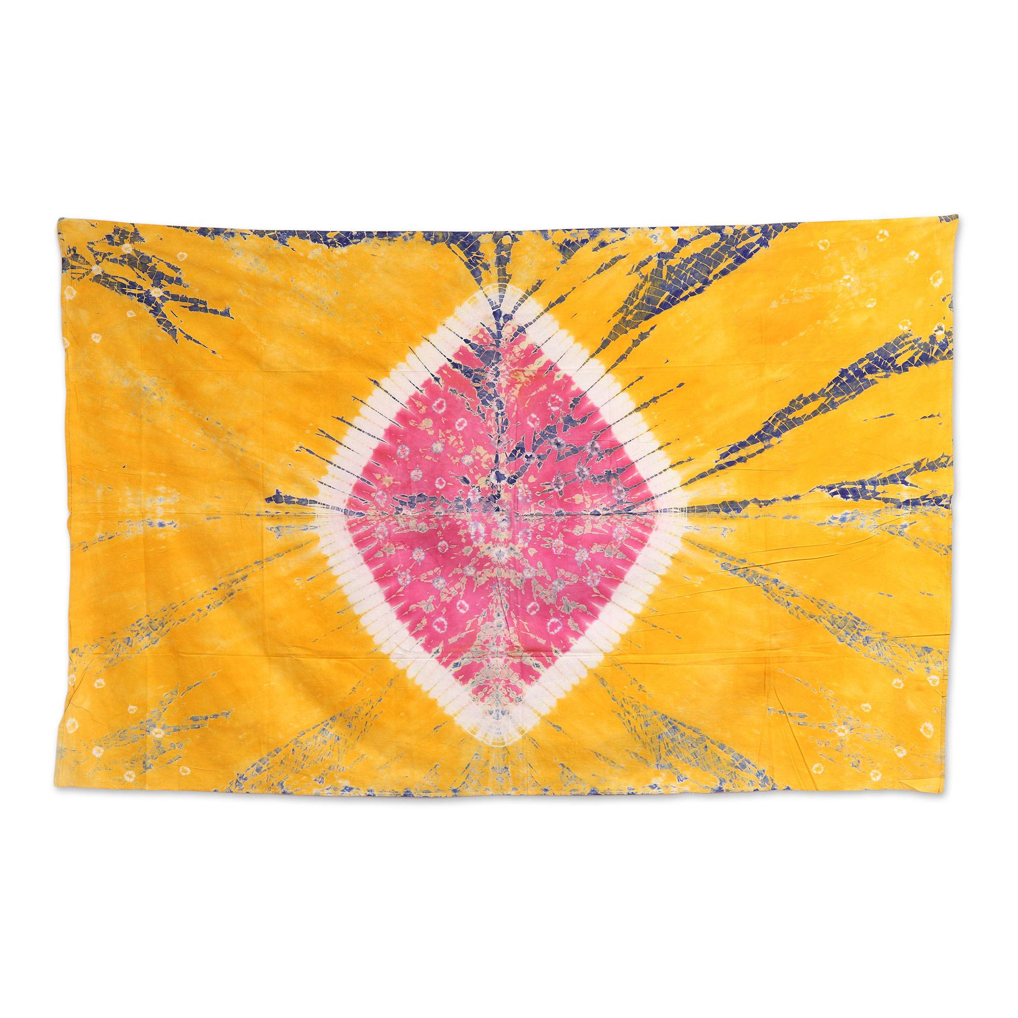Handmade Marigold and Rose Cotton Tie-Dyed Wall Hanging - Golden ...