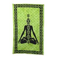 Cotton wall hanging, 'Seven Chakras' - Handmade Green and Black Cotton Seven Chakras Wall Hanging
