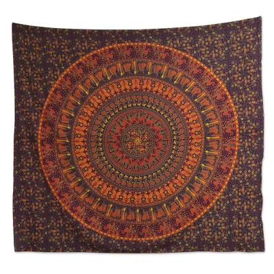 Cotton wall hanging, 'Royal Procession' - Floral Maroon Cotton Mandala Wall Hanging Handmade in India