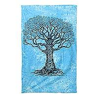 Cotton wall hanging, 'Growth' - Handmade Cerulean Cotton Tree Motif Wall Hanging from India