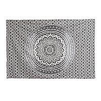 Cotton wall hanging, 'Timeless Mandala' - Black and White Cotton Mandala Wall Hanging Crafted in India