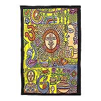 Cotton wall hanging, 'Divine Union' - Colorful Hinduism Cotton Wall Hanging Hand Crafted in India