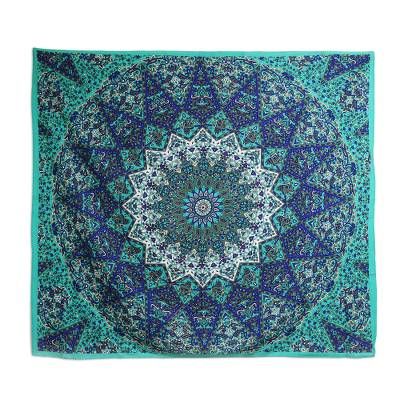 Cotton wall hanging, 'Royal Celebration' - Turquoise Cotton Mandala Wall Hanging Crafted in India