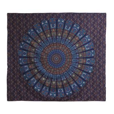 Cotton wall hanging, 'Garden of Mughal' - Floral Cotton Mandala Wall Hanging Crafted in India