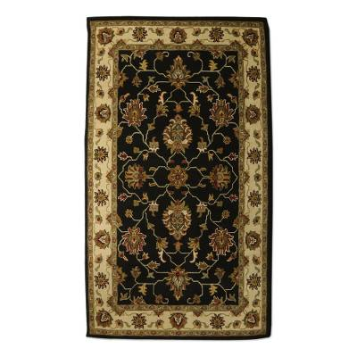 Black Ivory And Brown Floral Hand Tufted Wool Area Rug 5x8