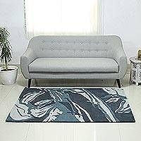 Hand-tufted wool area rug, 'Forest Green' - Dark Green and Ivory Abstract Hand Tufted Wool Area Rug