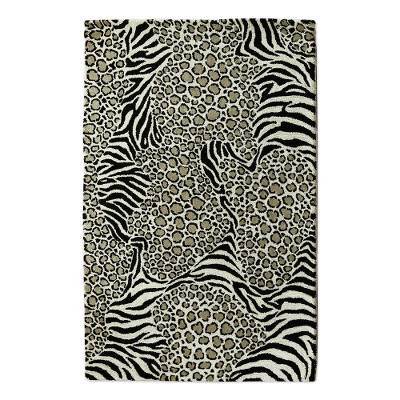 Zebra And Leopard Black And White Hand Tufted Wool Area Rug Wild