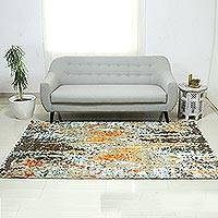 Wool blend area rug, 'Modern Brilliance' (5x8) - Hand Knotted Wool Viscose Rectangle Area Rug (5x8)