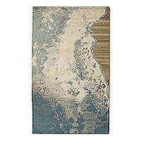Hand knotted wool blend area rug, 'The Green Sea' (5x8) - Hand Knotted Wool Viscose Rectangle Area Rug (5x8)