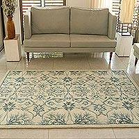 Wool area rug, 'Elite Beauty' (5x8) - Ivory Floral Hand Knotted Wool Rectangle Area Rug (5x8)