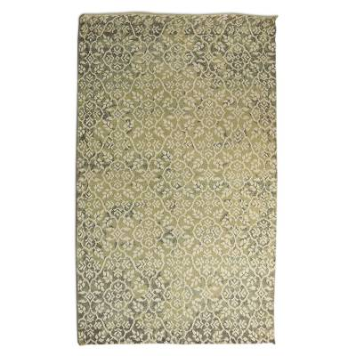 Wool blend area rug, 'Floral Medley' (5x8) - Floral Hand Knotted Wool Viscose Rectangle Area Rug (5x8)