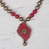 Ceramic pendant necklace, 'Ruby Delight' - Red and Gold Ceramic Flower Beaded Pendant Necklace