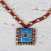 Ceramic pendant necklace, 'Imperial Beauty' - Blue Gold and Red Hand-Painted Ceramic Pendant Necklace