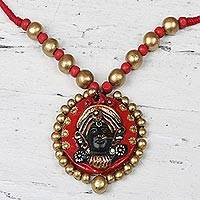 Ceramic pendant necklace, 'Divine Durga in Red' - Hand-Painted Red and Gold Ceramic Durga Goddess Necklace