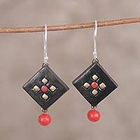 Ceramic dangle earrings, 'Floral Frame' - Black Red and Gold Hand-Panted Ceramic Dangle Earrings