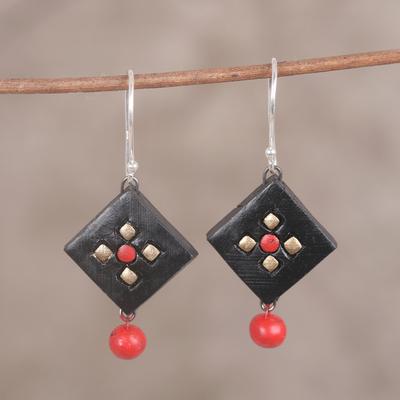 Novica Ceramic dangle earrings, Golden Floral