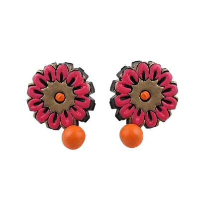 Hand-Painted Pink and Orange Floral Ceramic Dangle Earrings