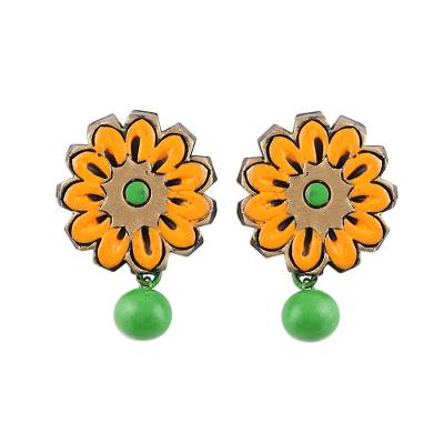 Hand-Painted Green and Orange Floral Ceramic Dangle Earrings