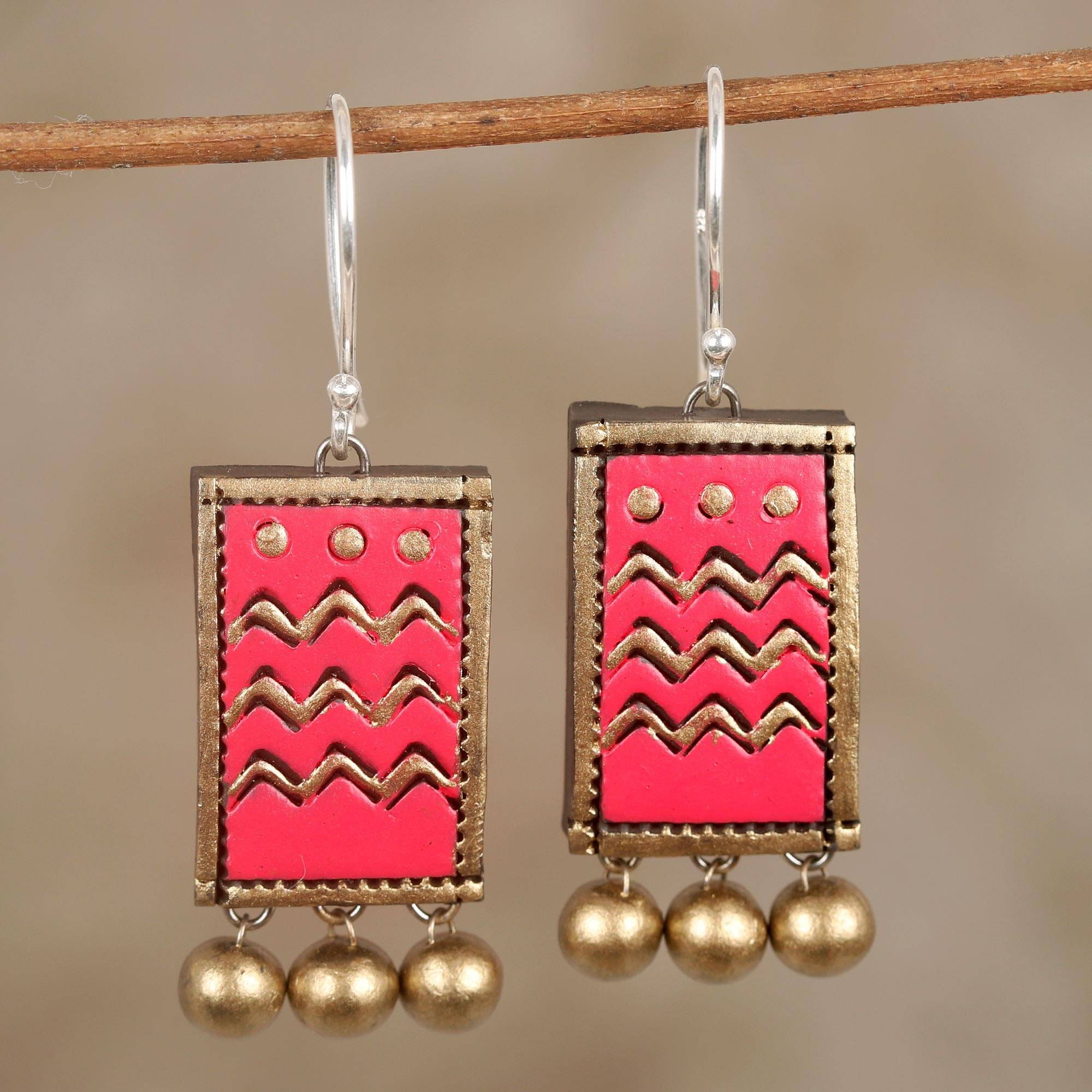 b hand leather diamond and earrings emerald boo painted glitter geometric pink factory product ombre jewelry