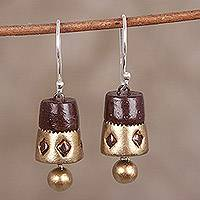 Ceramic dangle earrings, 'Golden Drums' - Hand-Painted Gold and Brown Ceramic Drum Dangle Earrings