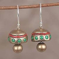 Ceramic dangle earrings, 'Dancing Domes in Gold' - Hand-Painted Gold and Brown Ceramic Drum Dangle Earrings