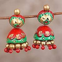 Ceramic dangle earrings, 'Festive Red' - Festive Red Green and Gold Ceramic Jhumki Dangle Earrings