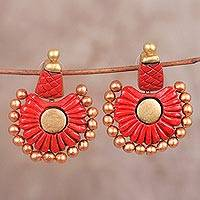 Ceramic dangle earrings, 'Red Bangalore' - Red and Gold Hand-Painted Flower Ceramic Dangle Earrings