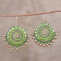 Ceramic dangle earrings, 'Spring Dream' - Hand-Painted Green and Golden Ceramic Disc Dangle Earrings