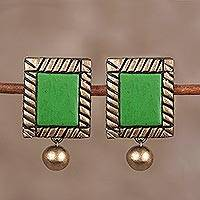 Ceramic dangle earrings, 'Sunny Pastures' - Hand-Painted Green and Gold Green Framed Dangle Earrings