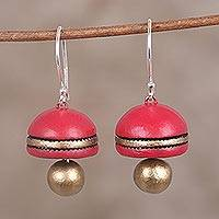 Ceramic dangle earrings, 'Graceful Dome' - Hand-Painted Red and Gold Ceramic Domed Dangle Earrings