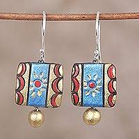 Ceramic dangle earrings, 'Imperial Beauty' - Gold Red and Blue Hand-Painted Ceramic Dangle Earrings