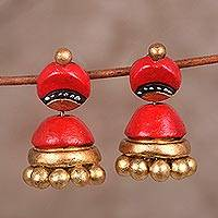 Ceramic dangle earrings, 'Magical Red' - Red and Gold Jhumki Ceramic Parasol Dangle Post Earrings