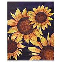 'Dancing Sunflower' - Signed Realist Painting of Sunflowers from India