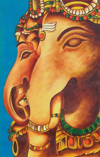 'Twin Ganapati' - Signed Expressionist Painting of Ganesha from India