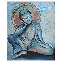 'Buddha At Rest' - Signed Expressionist Painting of Buddha in Blue from India